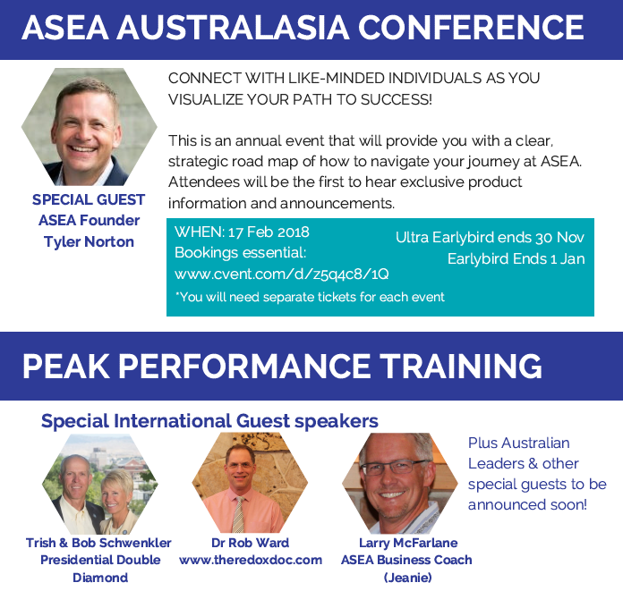 The Schwenklers were invited to speak at the Peak Performance Training Day after the 2018 AustralAsia ASEA Conference